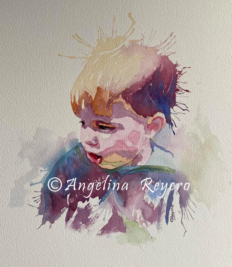 retrato acuarela niño