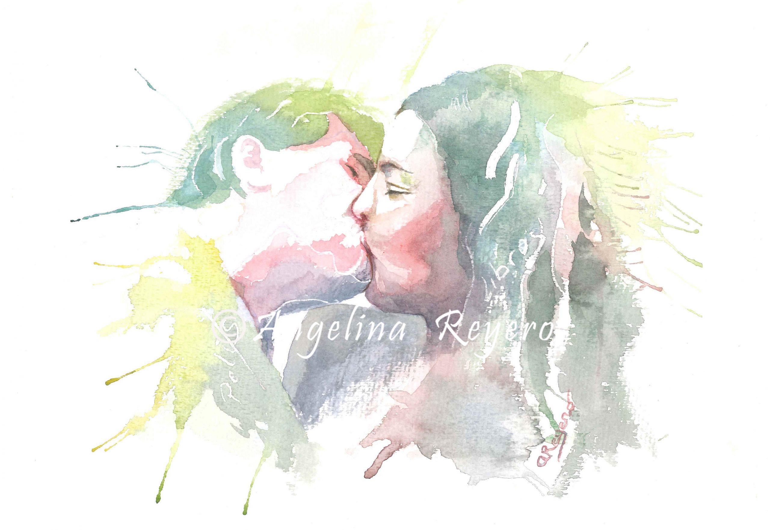 retrato acuarela pareja amor